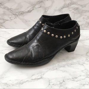 Josef Seibel Black Leather Studded Heeled Booties